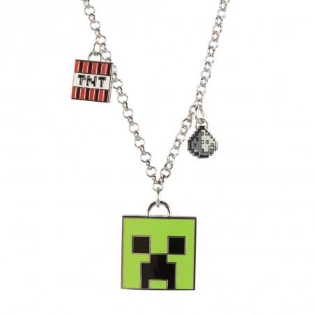 Pandantiv Medalion Lantisor Colier Minecraft Creeper Face Original ZUM7945 Medalioane / Coliere