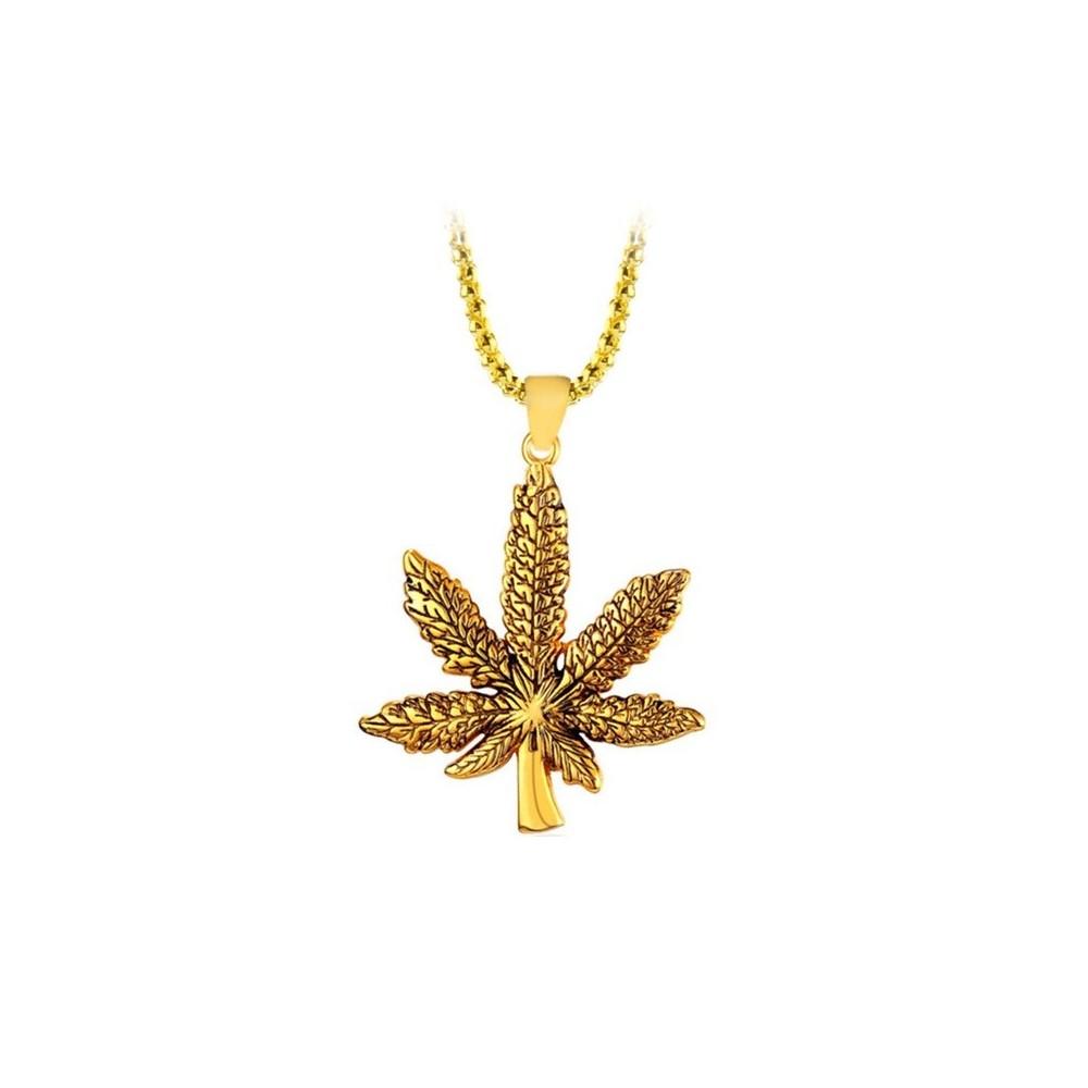 Lantisor Cu Pandantiv Frunza Marijuana Aurie ZUM897 Zumzeria Diverse
