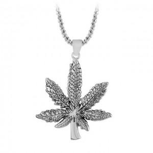 Medalion Lantisor Colier Frunza Marijuana Argintiu ZUM896 Zumzeria Diverse Medalioane