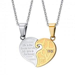 Set Pandantive Medalioane Lantisoare Cuplu Indragostiti Inima Inox ZUM894 Best Friends