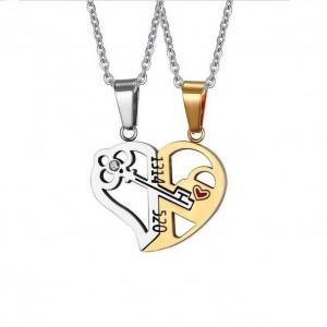 Set Pandantive Medalioane Lantisoare Cuplu Indragostiti Inima Inox m2 ZUM891 Best Friends