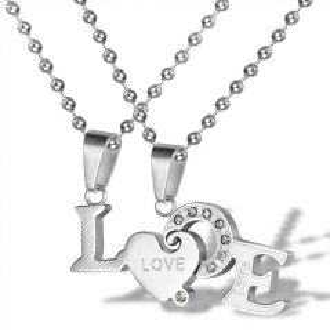 Set Pandantive Medalioane Lantisoare Cuplu Indragostiti Love Inox Silver ZUM886 Medalioane Inox