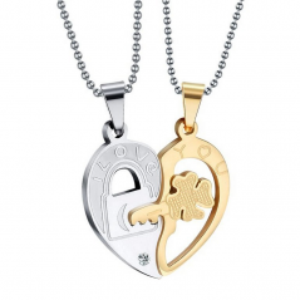 Set Pandantive Medalioane Lantisoare Cuplu Indragostiti Inima Inox m4 ZUM883 Medalioane Inox