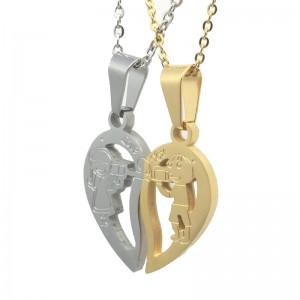 Set Pandantive Medalioane Lantisoare Cuplu Indragostiti Inima Inox m7 ZUM776 Medalioane Inox