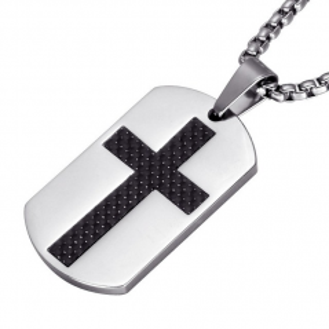 Pandantiv Medalion Lantisor ColierDog Tag Cruce - Inox + Lantisor ZUM878 Medalioane Inox