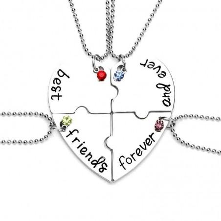 Set Medalioane Lantisoare Best Friend Friends Inima (4 buc) zum221 Best Friends