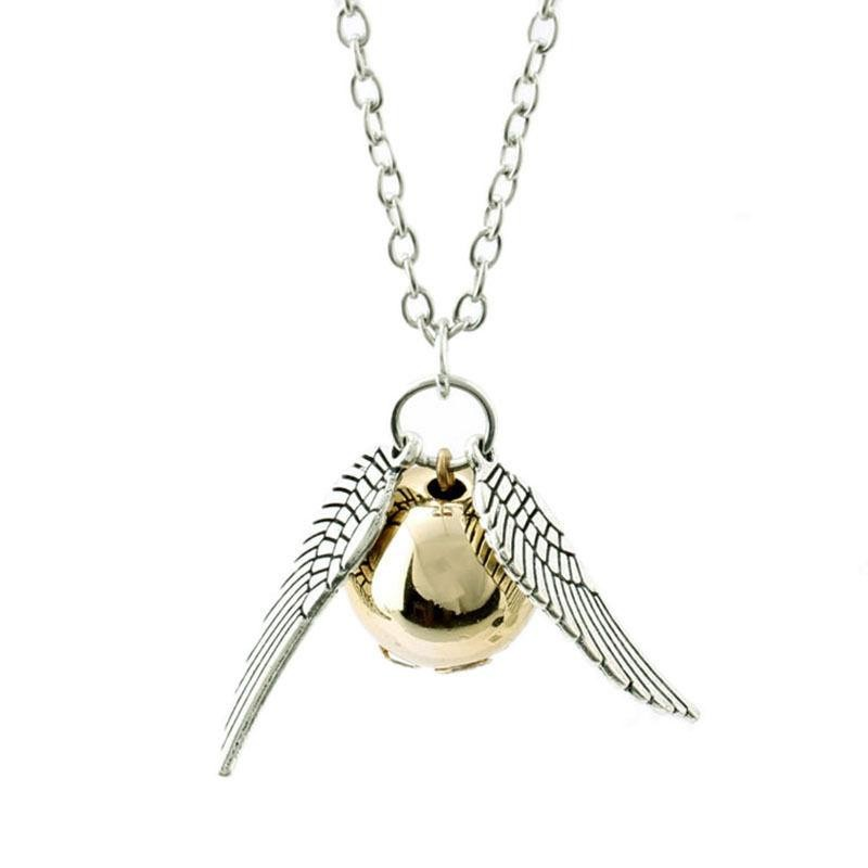 Lantisor Cu Pandantiv Harry Potter Golden Snitch Quidditch Argintiu hp113 Harry Potter Medalioane Harry Potter