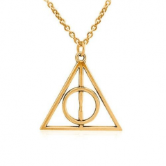 Pandantiv Medalion Lantisor Harry Potter Deathly Hallows Triangle Triunghi med112 Medalioane