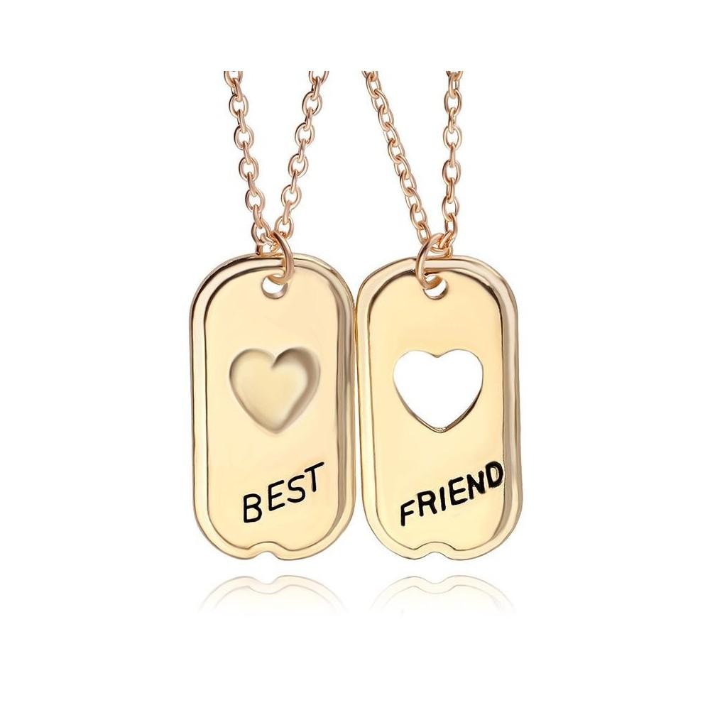 Set 2 Lantisoare Cu Pandantive Best Friends BFF Dogdag , Aurii zum089 Best Friends Medalioane BFF
