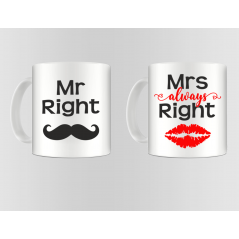 Set 2 cani Mrs. & Mr. always RIGHT mug11 Acasa