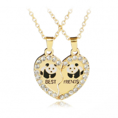 Set Lantisoare Medalioane Coliere Inima Panda Best Friend Friends Gold 86 Best Friends