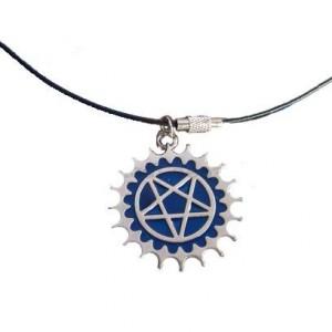 Lantisor Cu Pandantiv Pentagrama , Albastru zum417 Pentagrama Medalioane Pentagrama