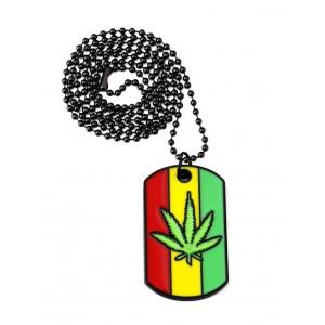 Lantisor cu Pandantiv Dogtag Frunza Marijuana zum57 Zumzeria Diverse