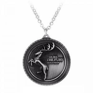 Lantisor Cu Pandantiv Game Of Thrones Ours Is The Fury Baratheon Argintiu med307 Game of Thrones Diverse Medalioane