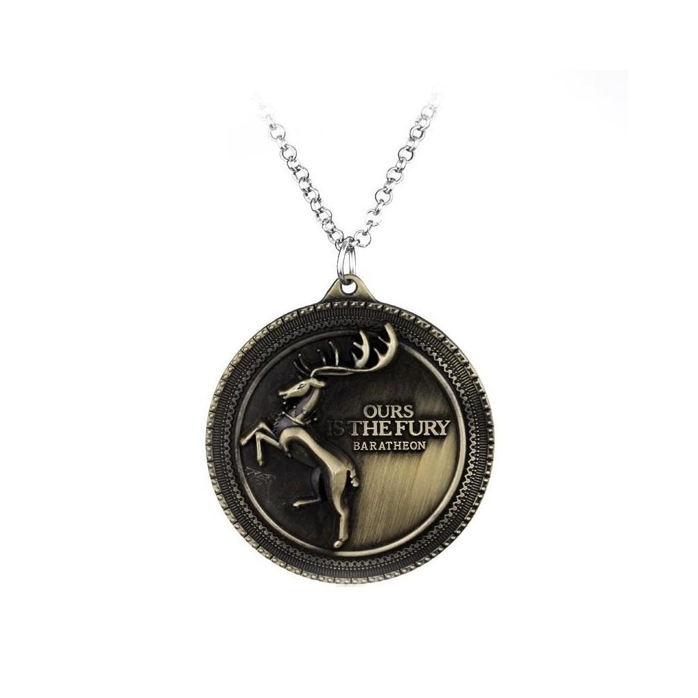 Pandantiv Medalion Lantisor Game Of Thrones Ours Is The Fury Baratheon Bronze med308 Medalioane