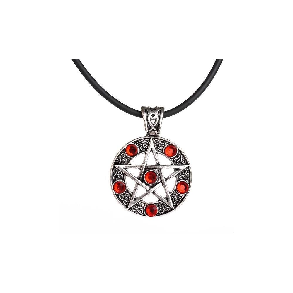 Lantisor Cu Pandantiv Pentagrama Red m2 med27 Medalioane Pentagrama
