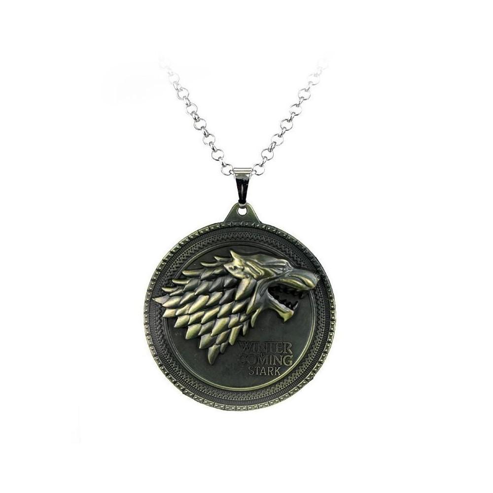 "Pandantiv Medalion Lantisor Game of Thrones Winter is Coming"" House Stark Wolf Lup Bronze zum325 Medalioane"