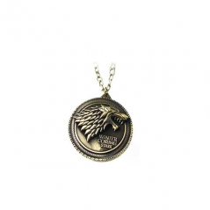 Lantisor Cu Pandantiv Game of Thrones Winter is Coming House Stark Wolf Lup Bronze - Lant Bronze med326 Diverse Medalioane