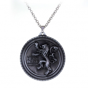 Lantisor Cu Pandantiv Game Of Thrones Lannister Hear Me Roar , Argintiu zum383 Game of Thrones Diverse Medalioane