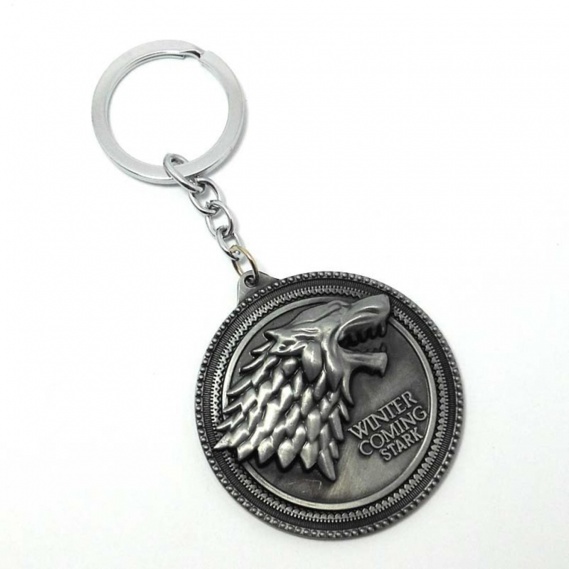 Breloc Game Of Thrones Lup Winter Is Coming Stark , Argintiu zum386 Game of Thrones Brelocuri