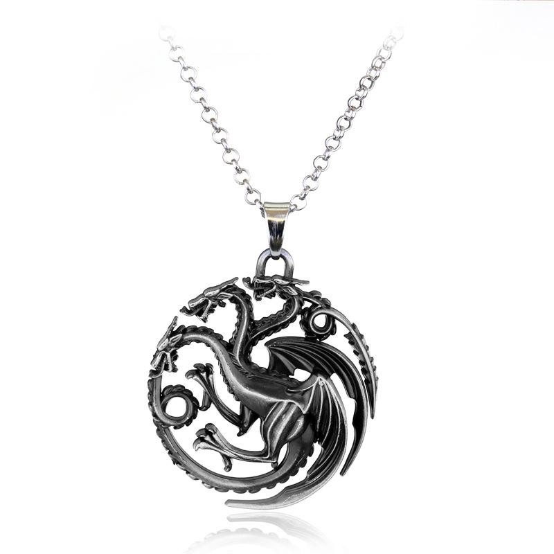 Pandantiv Medalion Lantisor Game Of Thrones Dragon Fire and Blood Silver med390