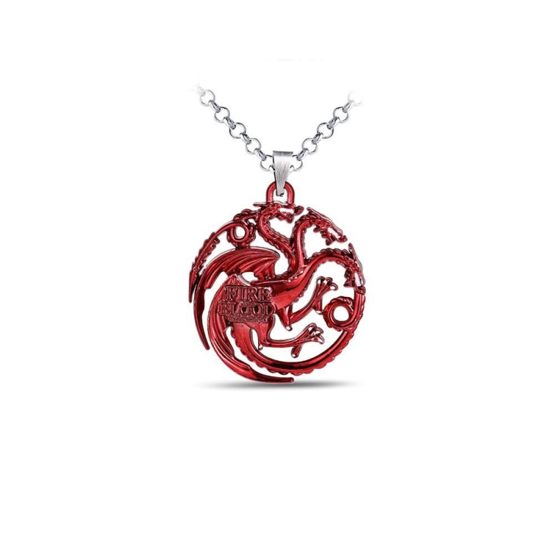 Pandantiv Medalion Lantisor Game Of Thrones Dragon Fire and Blood Red med392 Medalioane