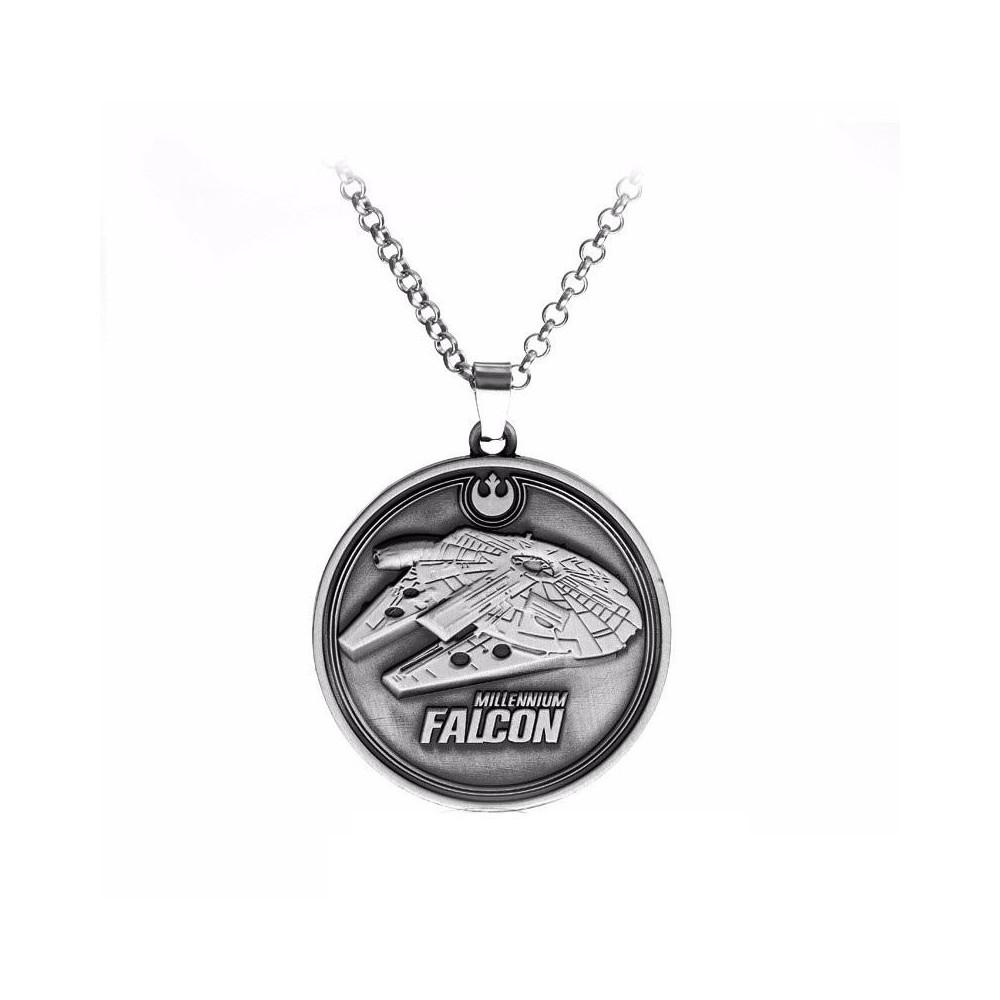 Pandantiv Medalion Lantisor Star Wars Millennium Falcon Silver zum411 Medalioane