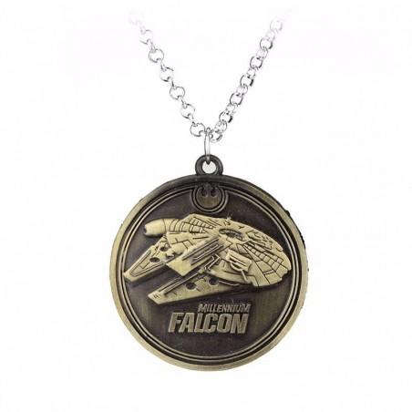 Pandantiv Medalion Lantisor Star Wars Millennium Falcon Bronze zum412 Medalioane