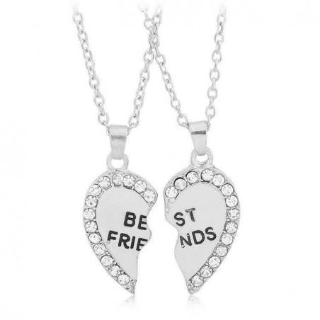 Set Lantisoare Coliere Argintii Inima Best Friends Friend Forever bff007 Best Friends