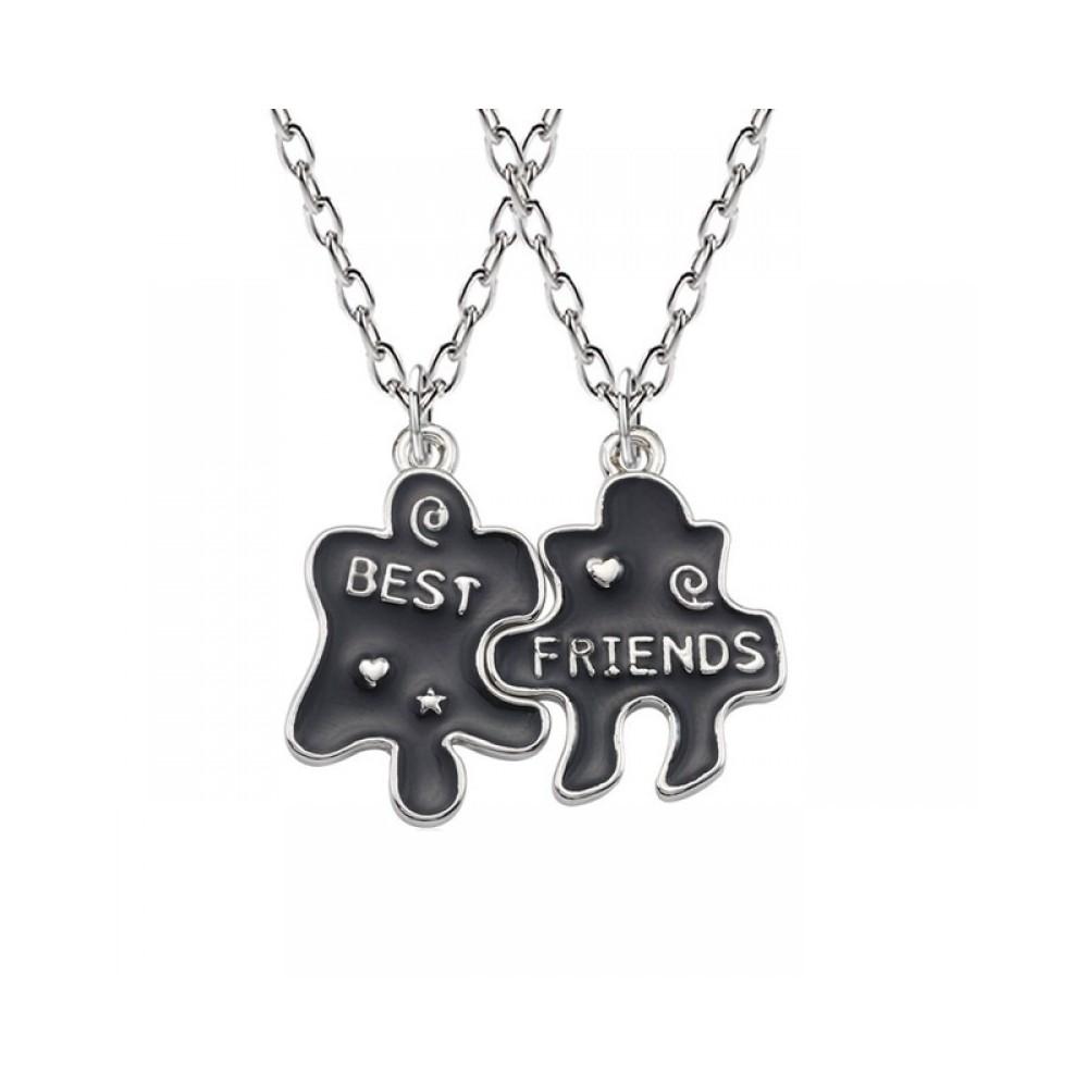 Set 2 Lantisoare Cu Pandantive - Puzzle Best Friends Bff M5 zumbff0006 Best Friends Medalioane BFF
