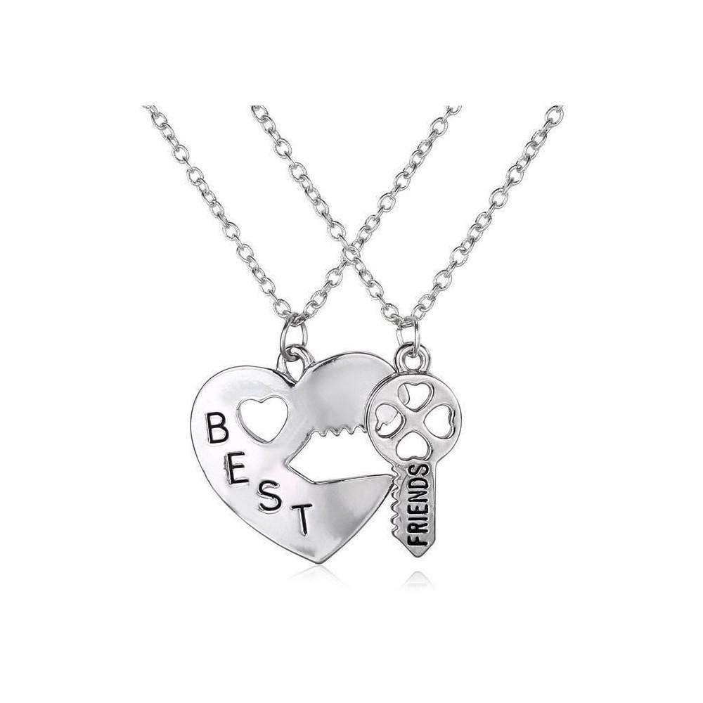 Set Lantisoare Medalioane Inima + Cheie Best Friend Friends Forever bff0009 Best Friends Medalioane BFF