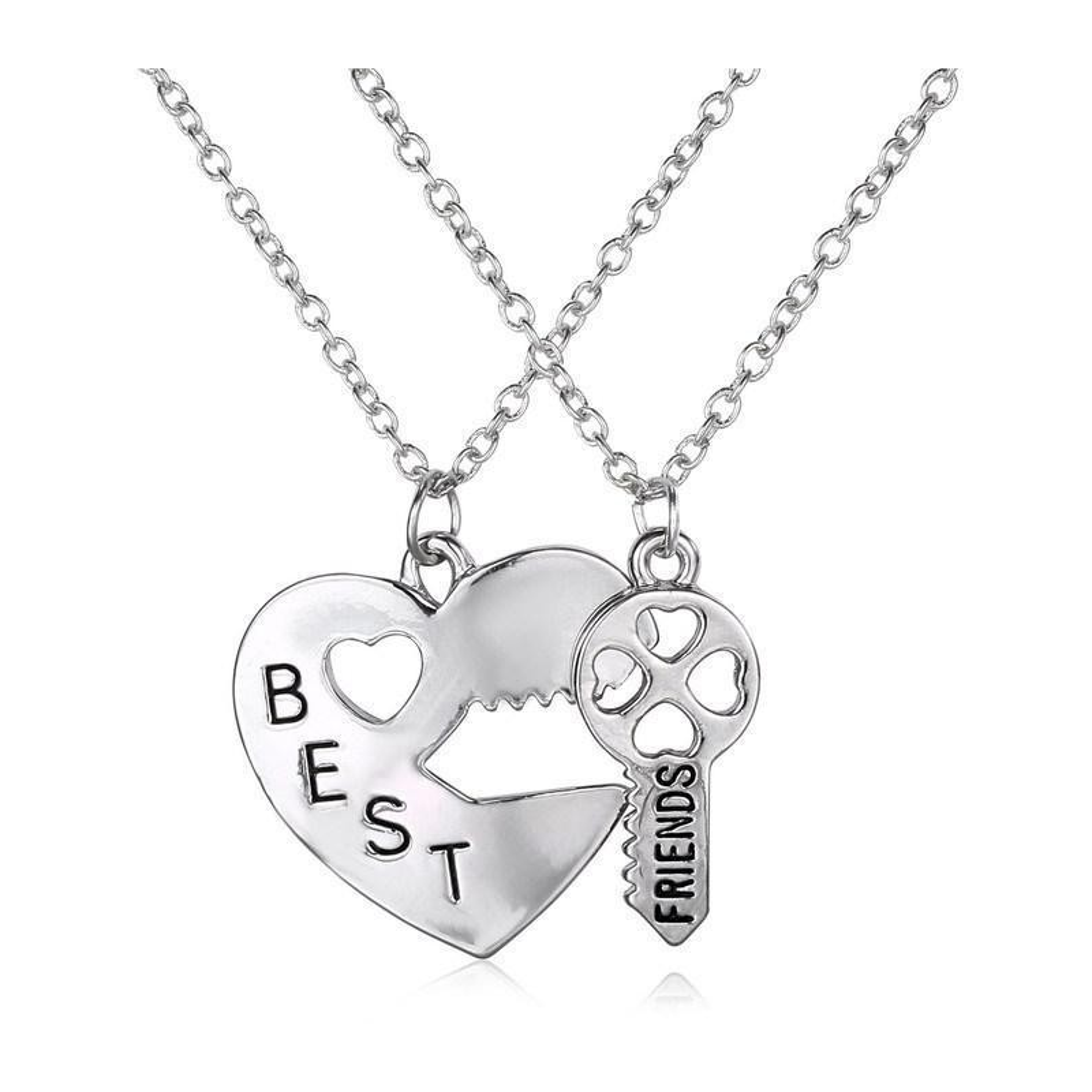 Set Lantisoare Medalioane Inima + Cheie Best Friend Friends Forever bff0009 Medalioane BFF