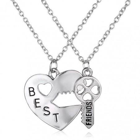 Set Lantisoare Medalioane Inima + Cheie Best Friend Friends Forever bff0009 Best Friends