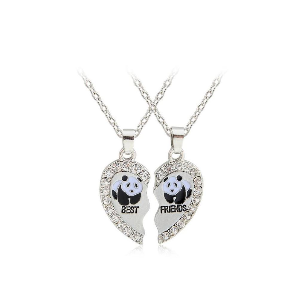 Set Lantisoare Medalioane Inima Panda Best Friend Friends Forever bff0013 Best Friends
