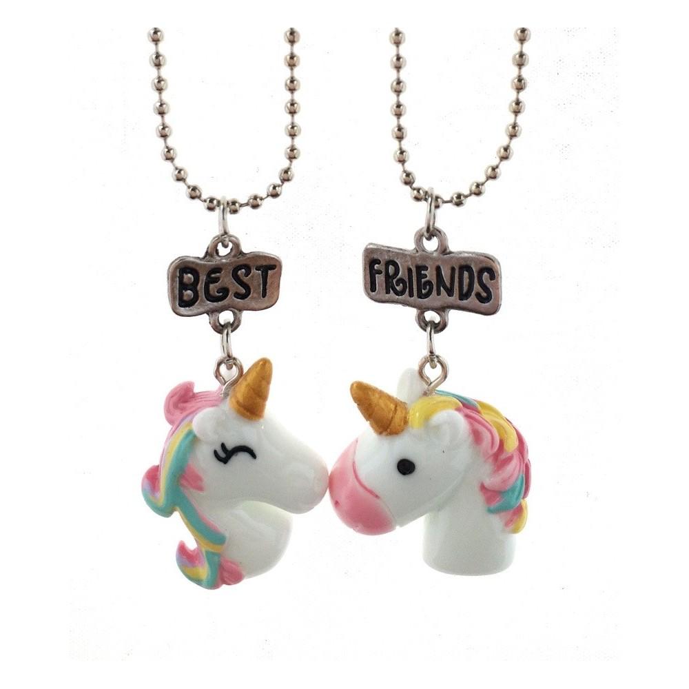 Set 2 Lantisoare Cu Pandantive BestFriends BFF Unicorni m3 bff534 Best Friends Medalioane BFF