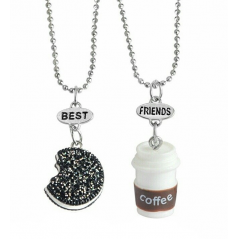 Set Lantisoare Medalioane BFF BEST Friend Friends Coffee & Oreo bff540 Best Friends