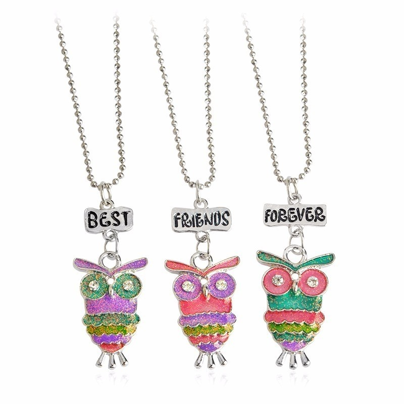 Set 3 Lantisoare Cu Pandantive Best Friends BFF Bufnite bff542 Best Friends Medalioane BFF