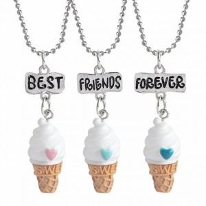 Set 3 Lantisoare Cu Pandantive Best Friends Forever Inghetata BFF M2 , bff551 bff551 Best Friends Medalioane BFF