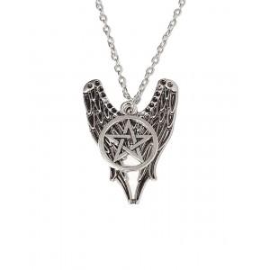 Lantisor Cu Pandantiv Supernatural Pentagrama Aripi Castiel , Argintiu med680 Supernatural Diverse Medalioane