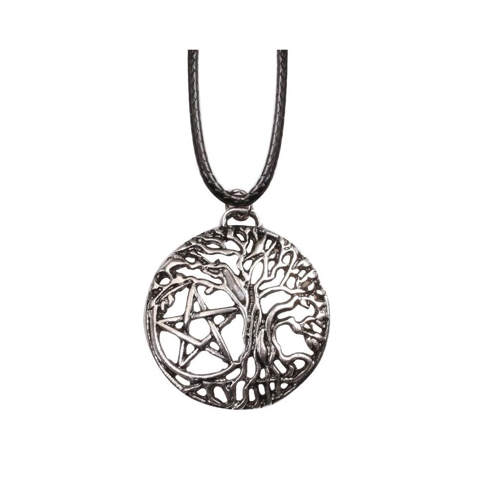 Lantisor Cu Pandantiv Pentagrama Tree of Life Pomul vietii , Argintiu zum2013 Pentagrama Diverse Medalioane