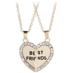 Set Lantisoare Coliere Aurii Inima Best Friends Friend Forever med0002 Best Friends