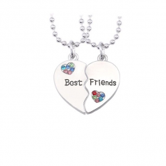 Set Lantisoare Medalioane Coliere 2 x Inimi Best Friends Bff Pietricele Multicolor bff00052 Best Friends