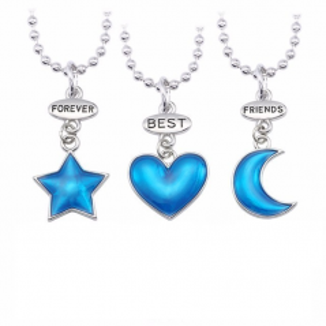 Set 3 Lantisoare cu Pandantive - Inima Stea Luna Best Friends Bff bff00053 Best Friends Medalioane BFF