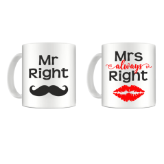 Set 2 cani Mrs. & Mr. always RIGHT mug11 Cani
