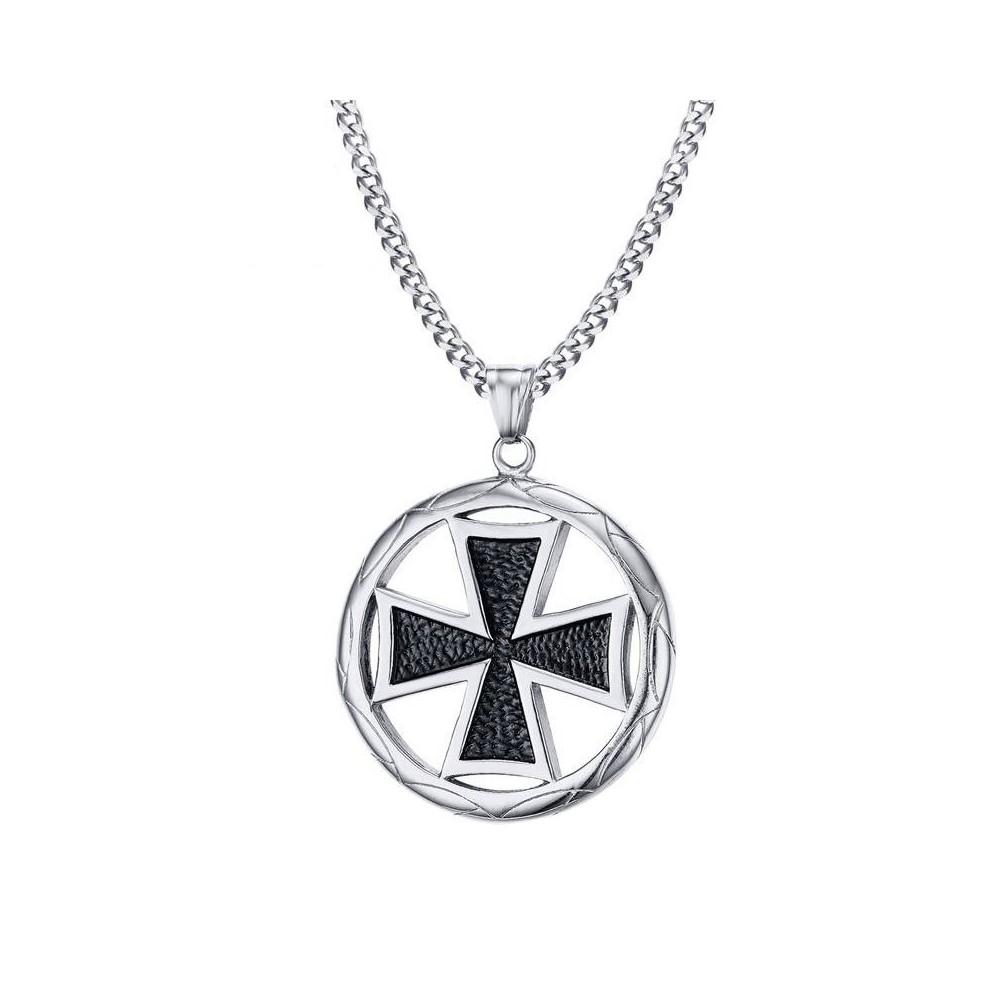 Pandantiv Medalion Lantisor Colier Crucea Malteza Crucea de Fier - Inox + Lant zuminox5 Medalioane Inox
