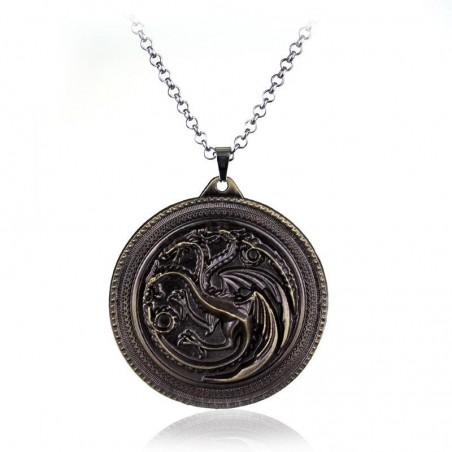 Pandantiv Medalion Lantisor Targaryen Game Of Thrones Dragon Daenerys Targaryen , zum242 Medalioane