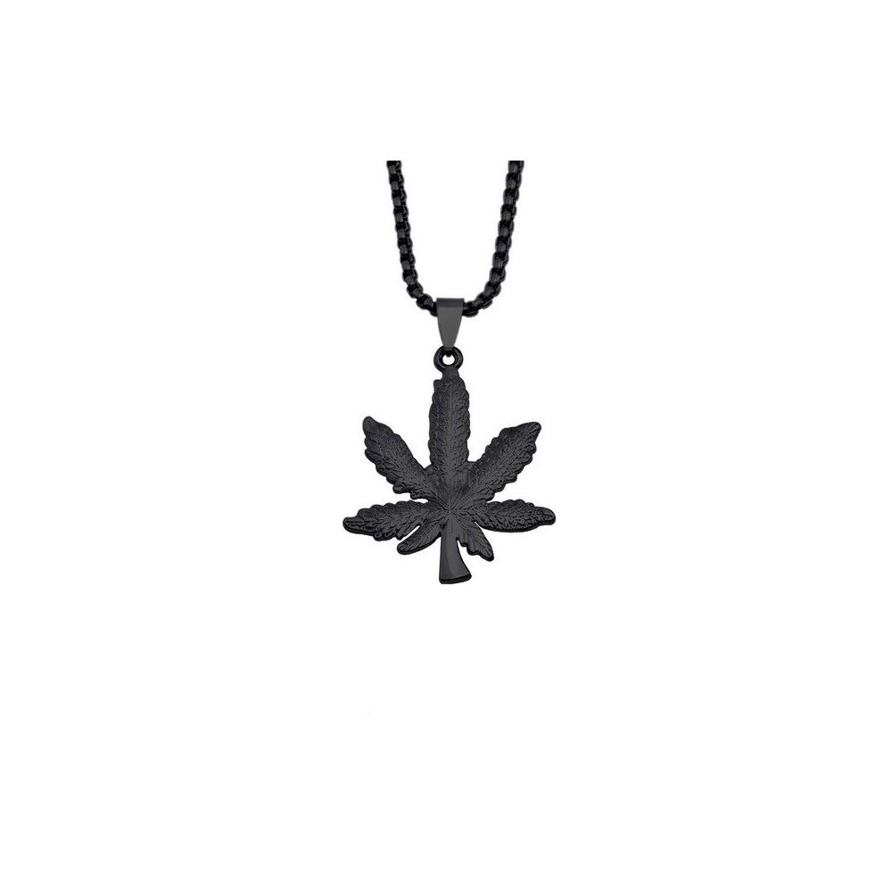Lantisor Cu Pandantiv Frunza Marijuana Neagra ZUM8961 Zumzeria Diverse