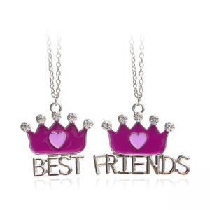 Set 2 Lantisoare Cu Pandantive Best Friends BFF Coroane Mov bff555 Best Friends Medalioane BFF