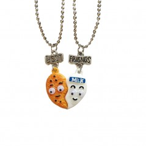 Set 2 Lantisoare Cu Pandantive Best Friends Inima Biscuit & Milk , bff00063 bff00063 Best Friends Medalioane BFF